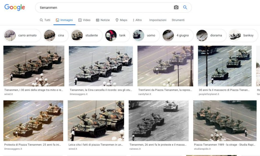 Tienanmen Google Italia risultati