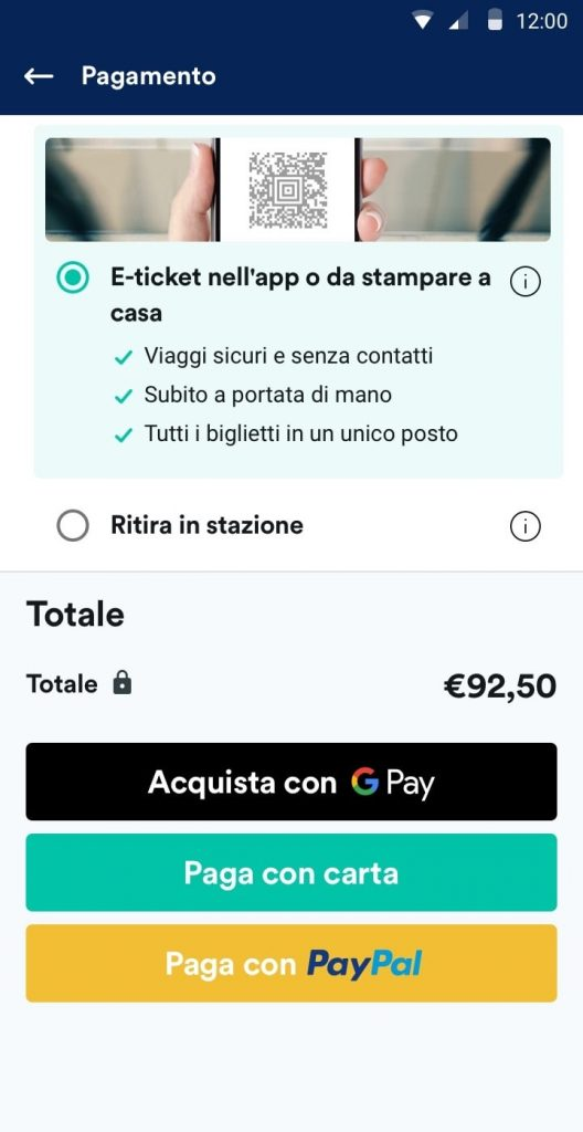 Trainline italia - Google Pay
