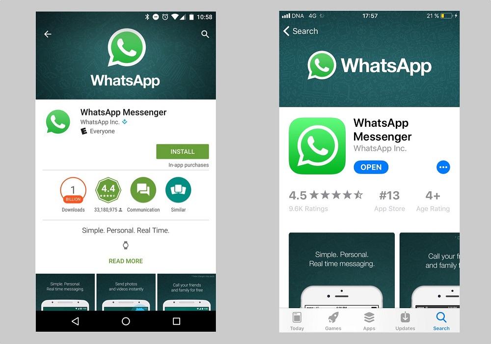 whatsapp download google play e apple store