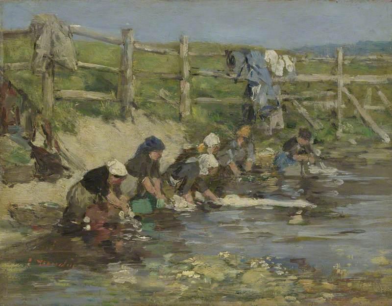 donne lavano panni al fiume