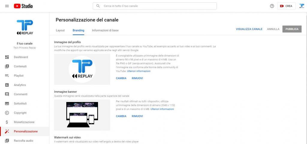 Cambiare immagine profilo YouTube - Guida YouTube Tech Princess