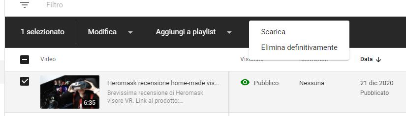 Cancelllare video YouTube creare canale YouTube