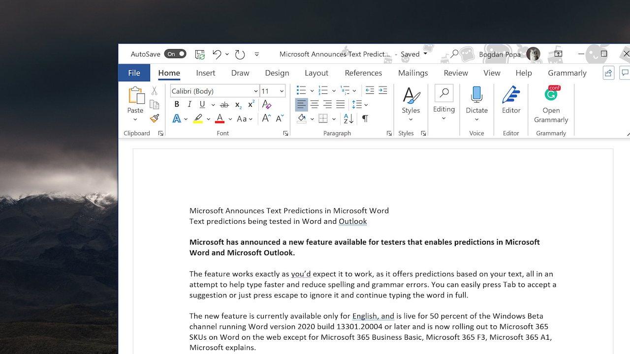 "Microsoft Word avrà la funzione ""Text Predictions"" thumbnail"
