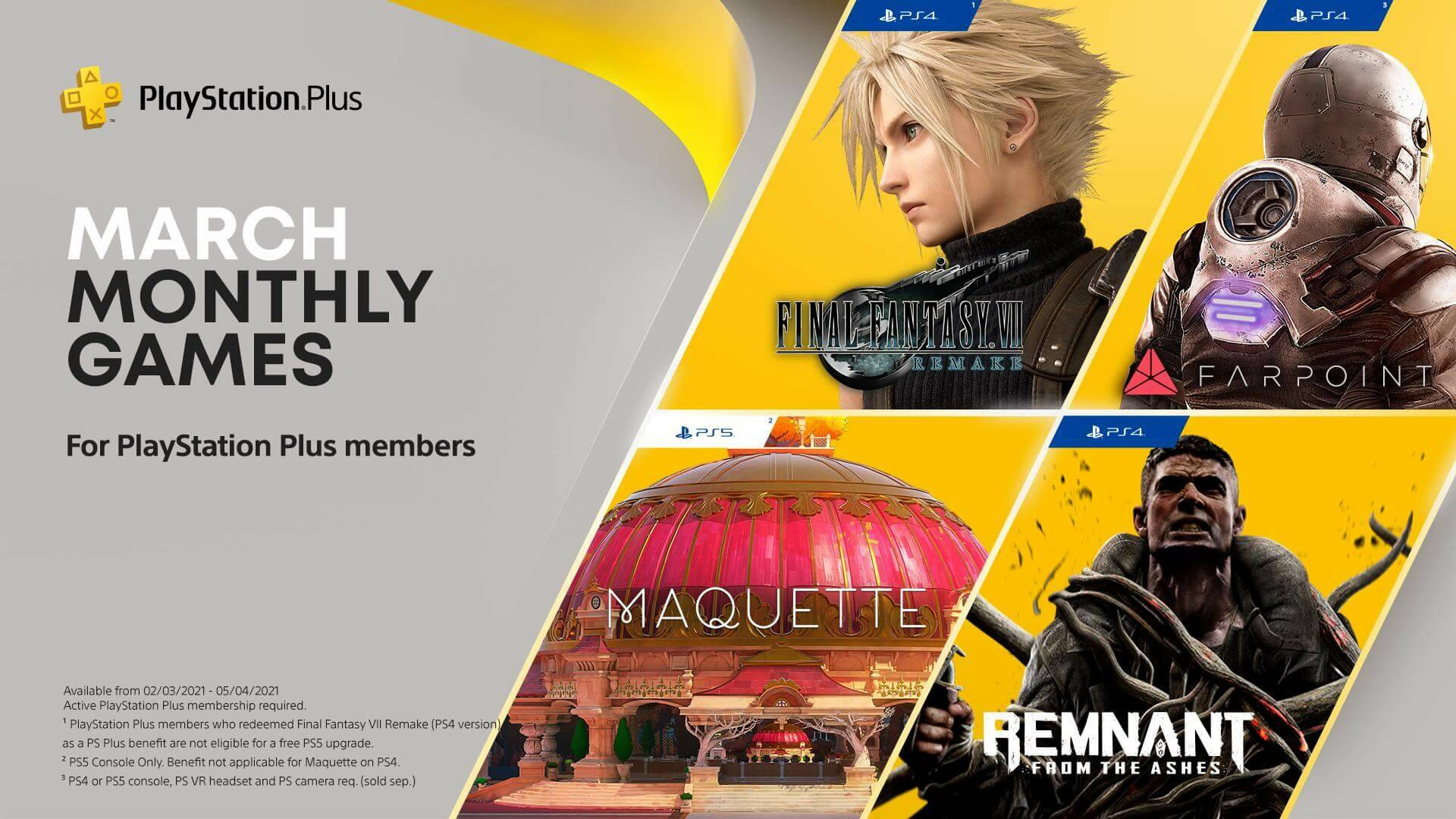 I giochi PS Plus di marzo 2021 includono Final Fantasy VII Remake thumbnail