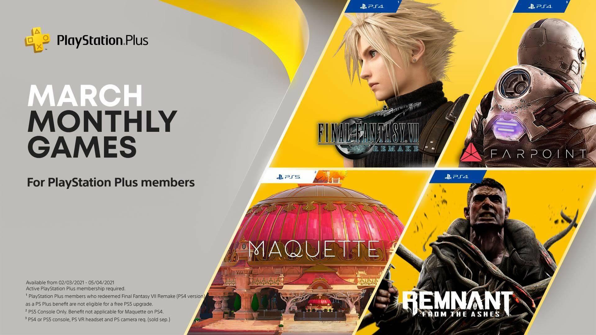 I giochi PS Plus di marzo 2021 includono Final Fantasy VII Remake thumbnail