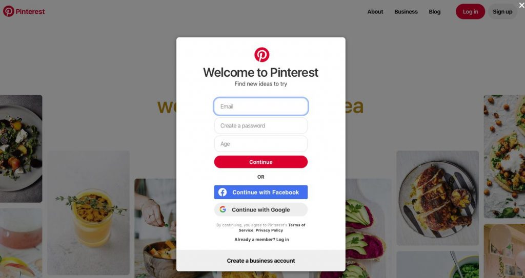 Pinterest creare account