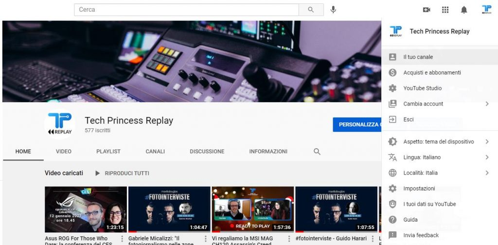 Canale tech princess youtube cambiare banner