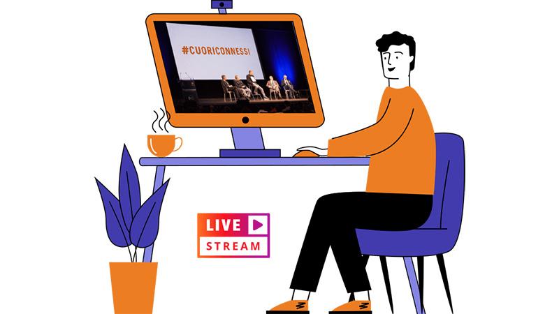 illustrazione con uomo che guarda evento cuoriconnessi su pc