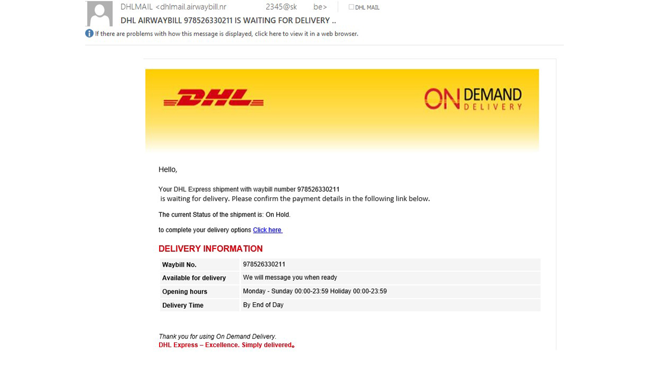 email truffa corriere dhl