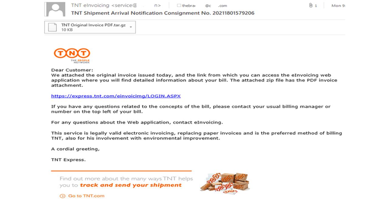 email truffa tnt ups