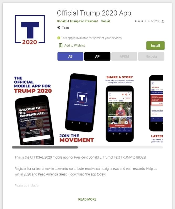 google play store donald trump app