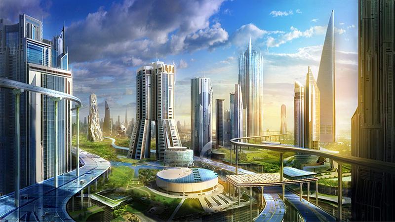 città futuristica tecnologia del futuro