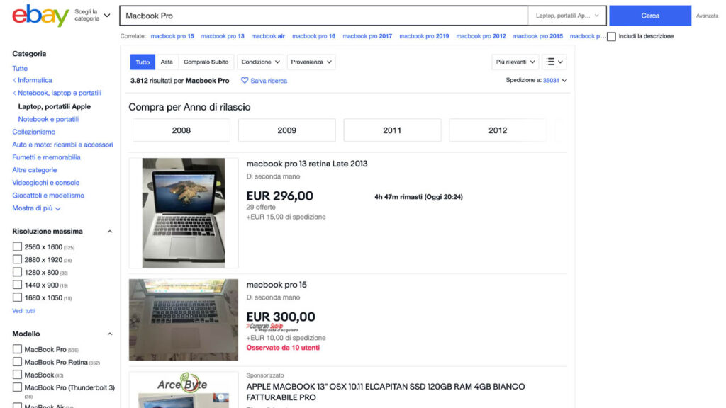 cercare un oggetto - acquistare su ebay