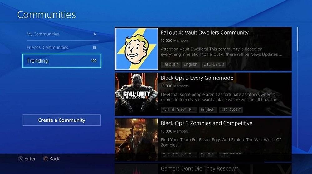 le communities di PlayStation 4