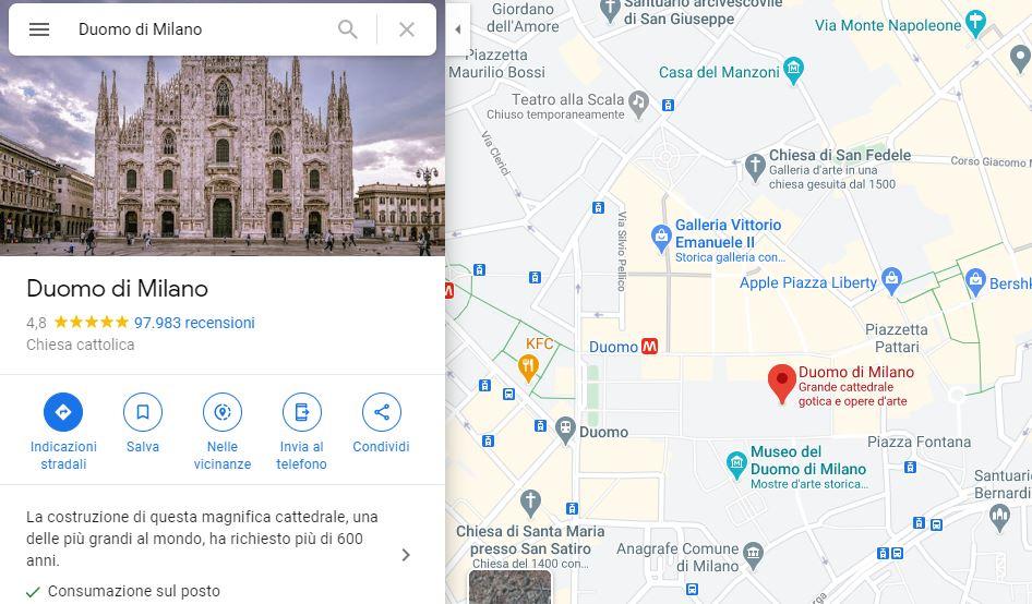 google maps recensioni duomo di milano