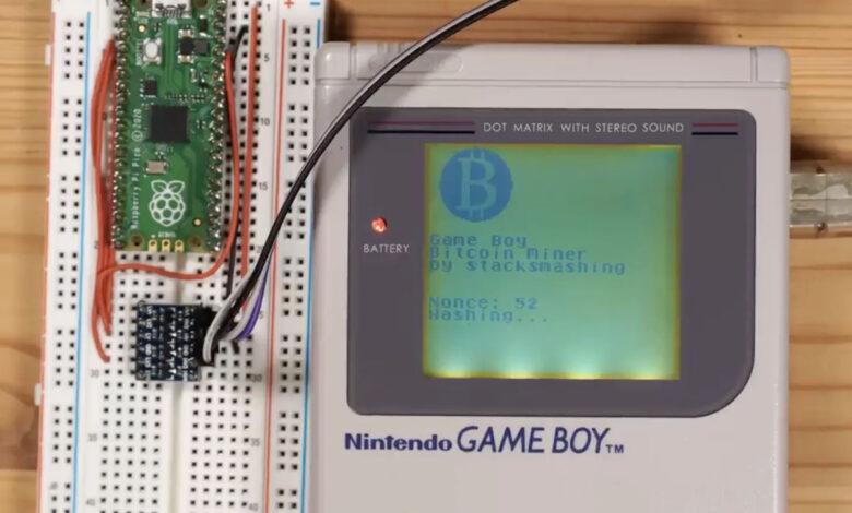 minare bitcoin con game boy