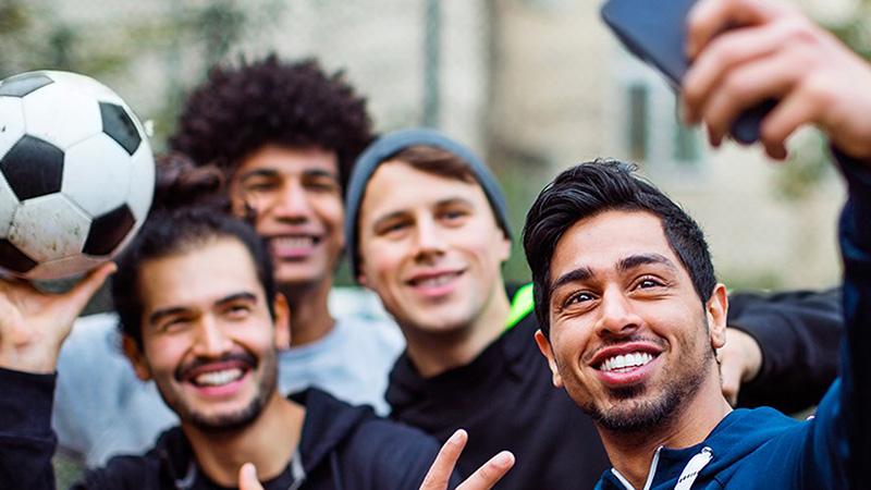 selfie tra amici calcetto