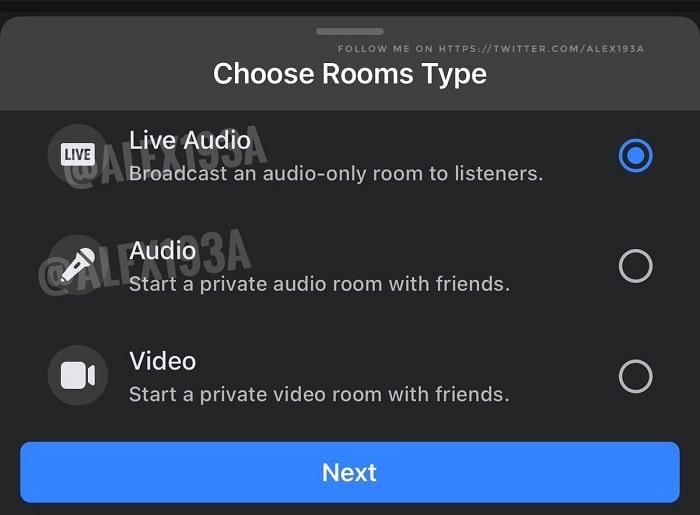 screenshot facebook stanze audio clubhouse