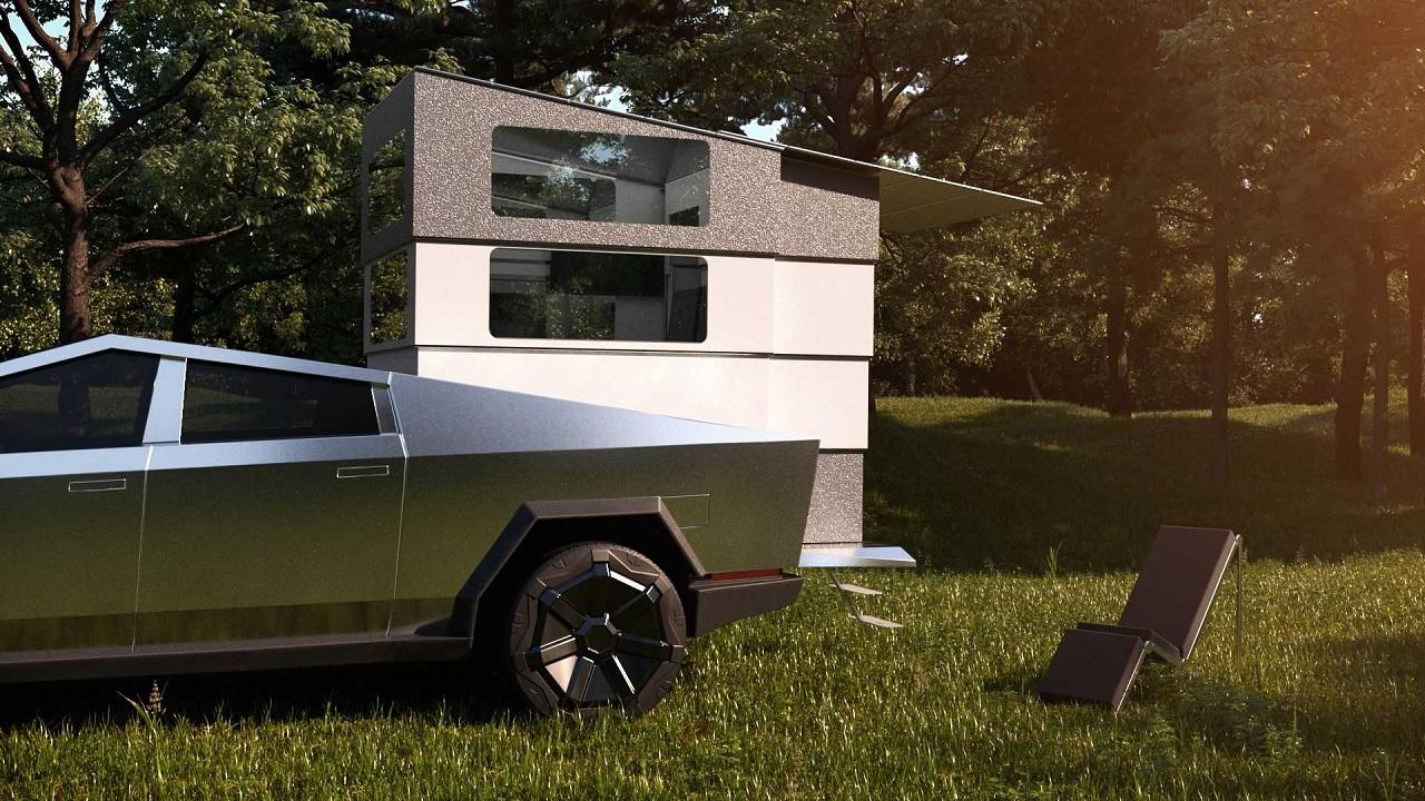 Cyberlandr, l'assurdo camper pick-up da montare sul cassone di Tesla Cybertruck thumbnail