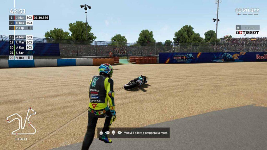 MotoGP 21 recensione caduta