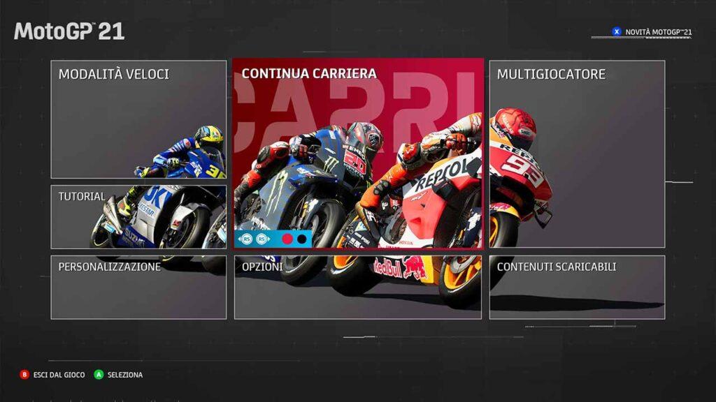 MotoGP 21 recensione menu