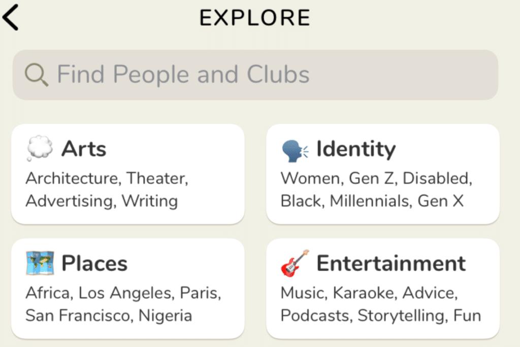clubhouse app interessi