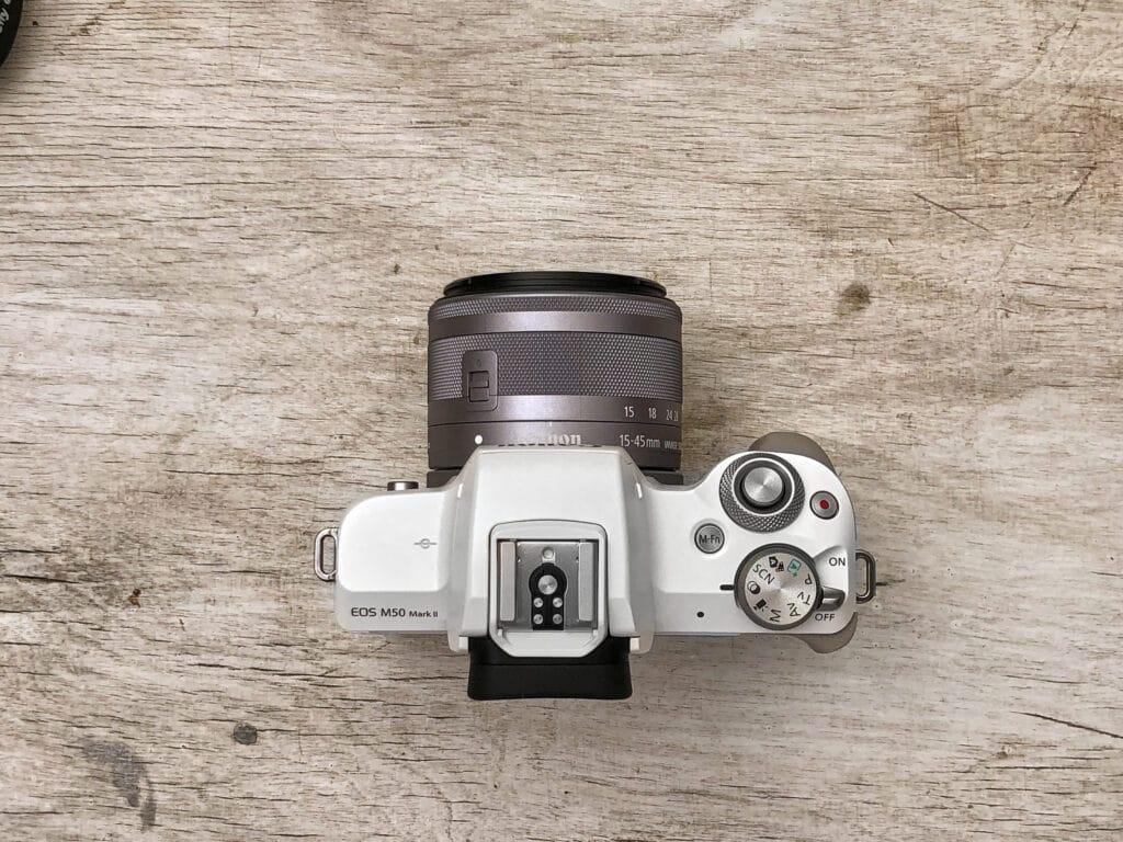 Canon EOS M50 Mark II vista dall'alto