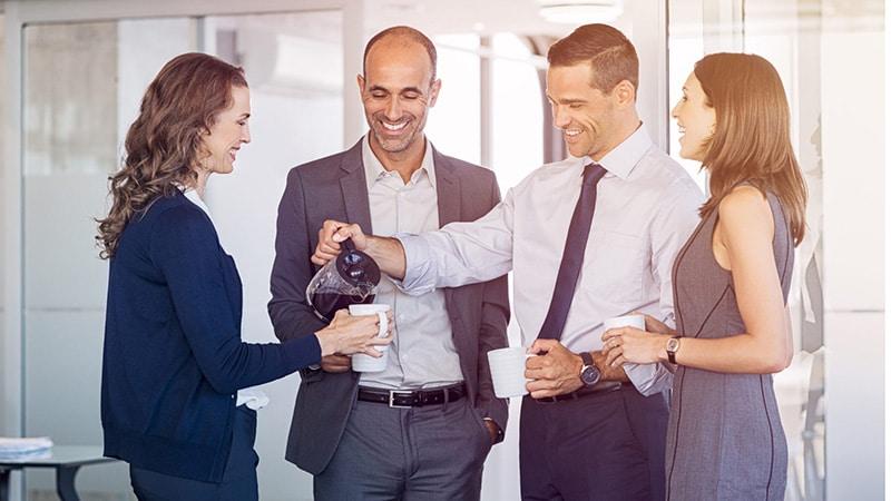 pausa caffè ufficio smart working