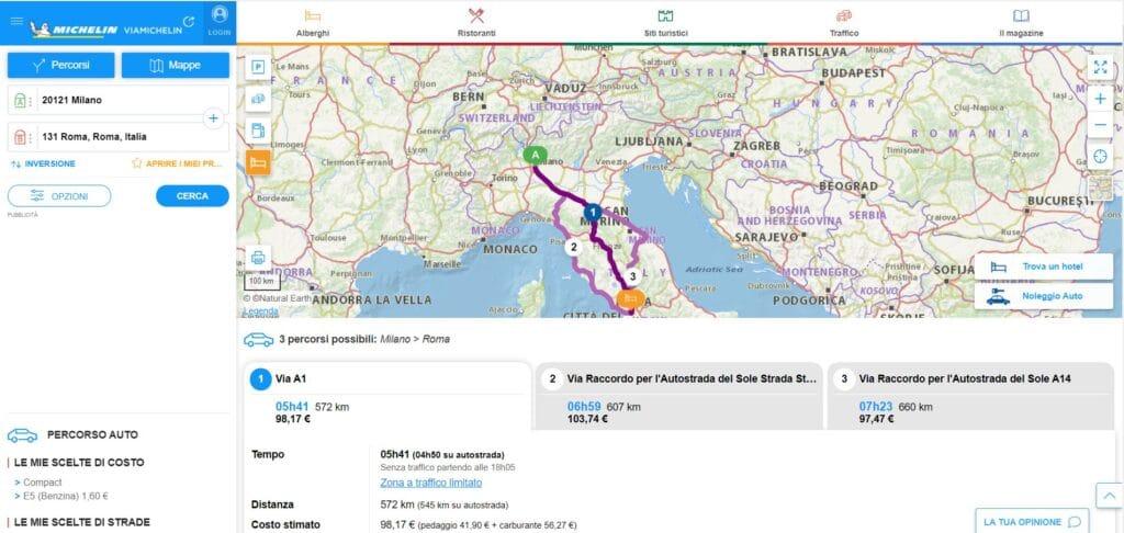 Milano-Roma treno aereo viamichelin