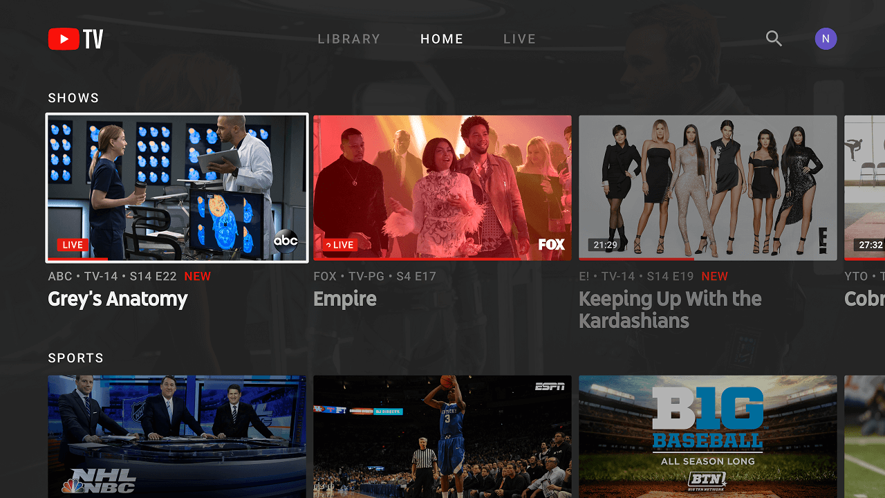 YouTube TV ora supporta lo streaming 4K thumbnail