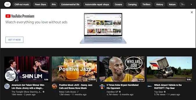 youtube annunci politici nella homepage-min