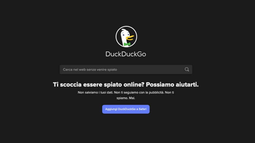 DuckDuckGo motore di ricerca
