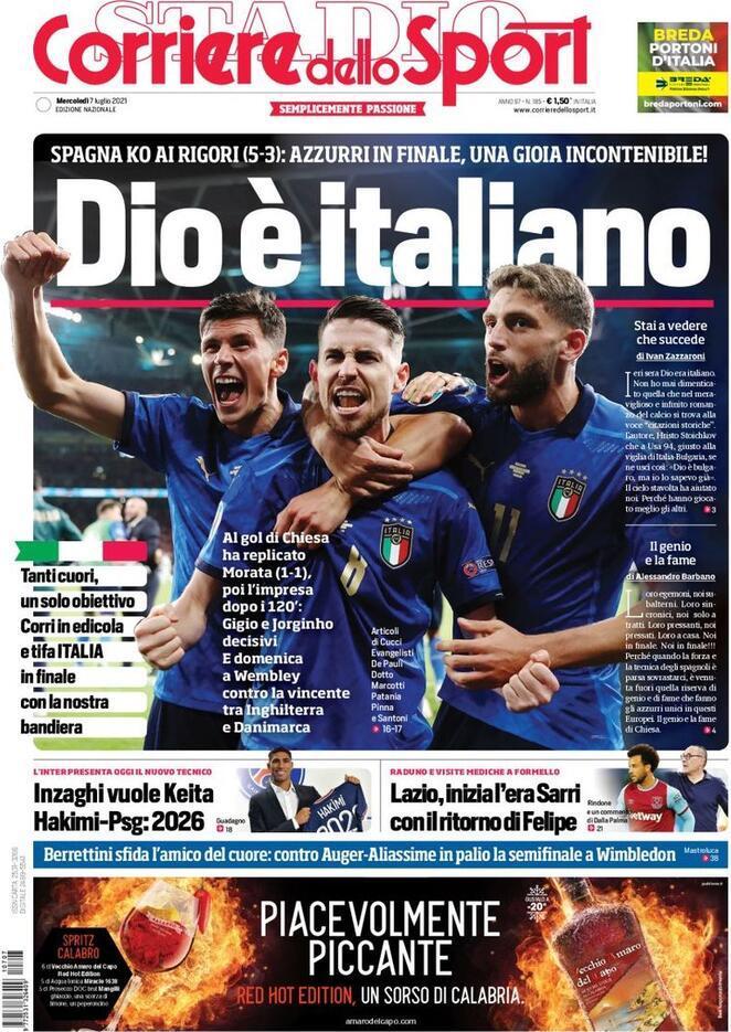 italia spagna corriere dello sport