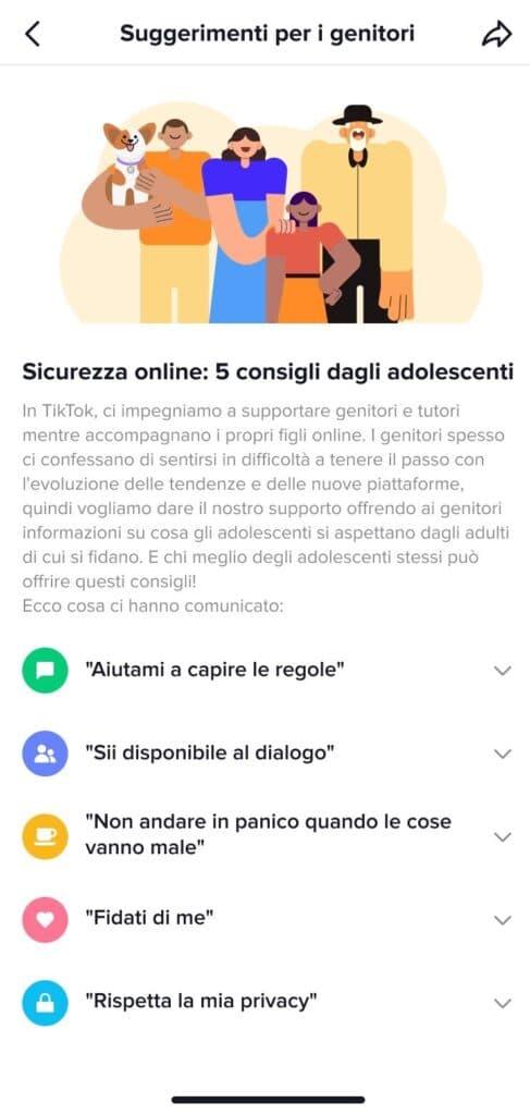 App TikTok genitori