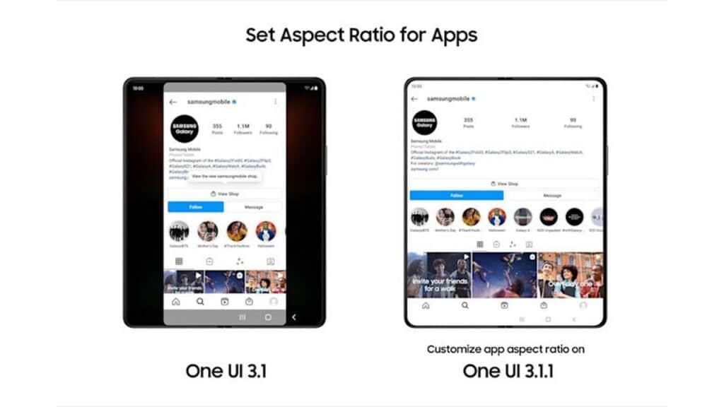 smartphone pieghevoli samsung one ui 3.1.1