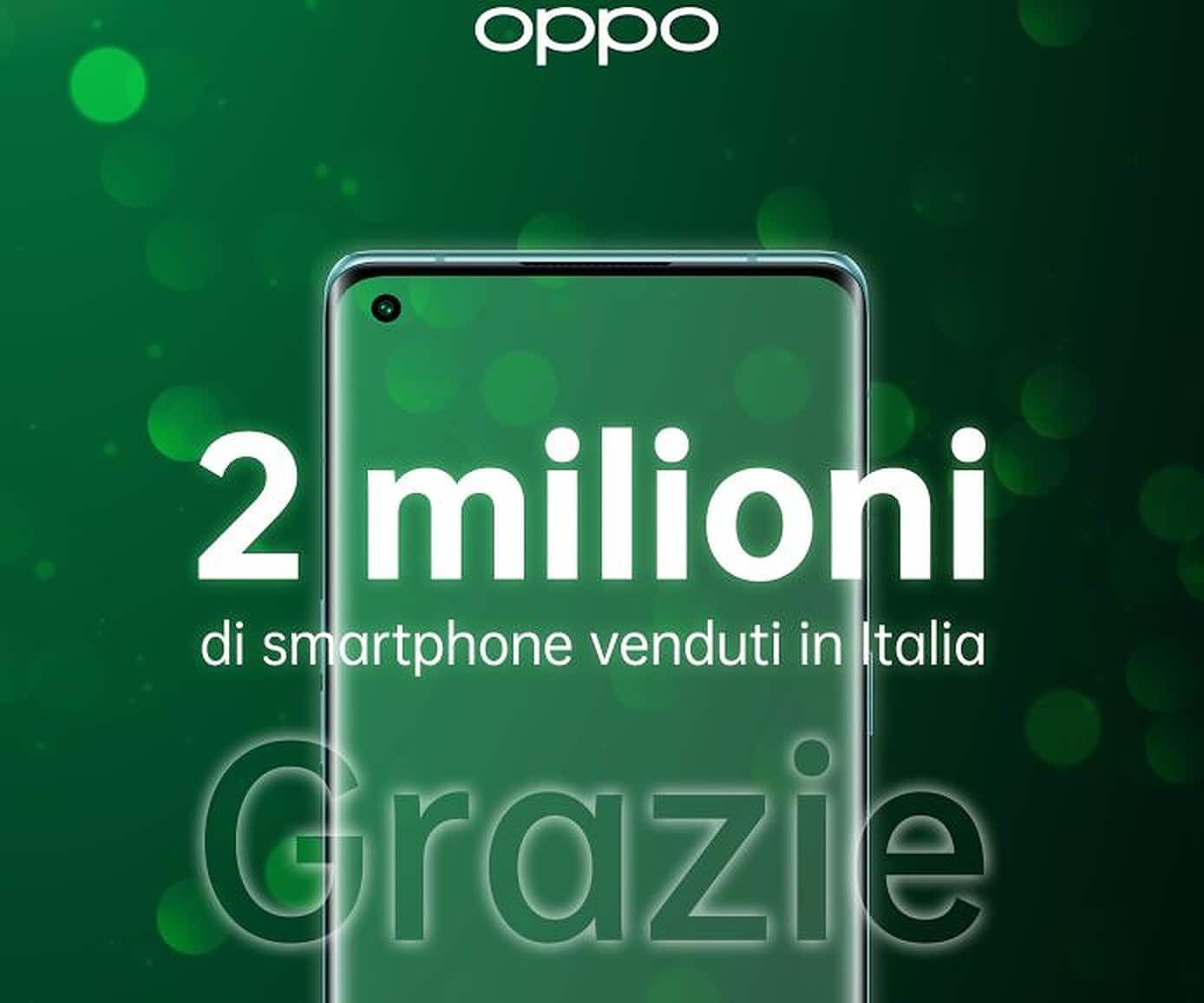 OPPO: raggiunto il traguardo dei 2 milioni di smartphone venduti in Italia thumbnail
